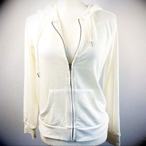 HIPPIE ROSE Ivory Hooded Zip Up Jacket Size: S